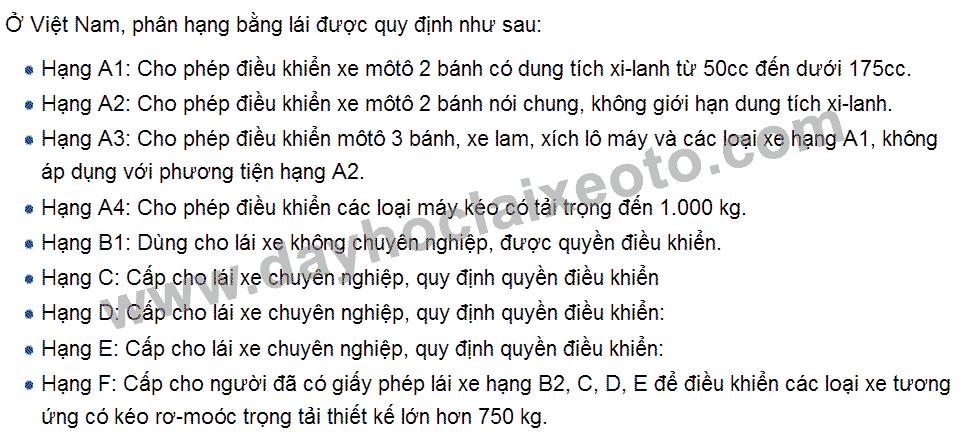 phan loai bang lai - Nâng hạng bằng lái xe ô tô nhanh nhất tại Hà Nội