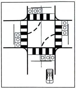 qua nga tu co den tin hieu giao thong 254x300 - Học lái xe ô tô bài 5 - Qua ngã tư có đèn tín hiệu giao thông