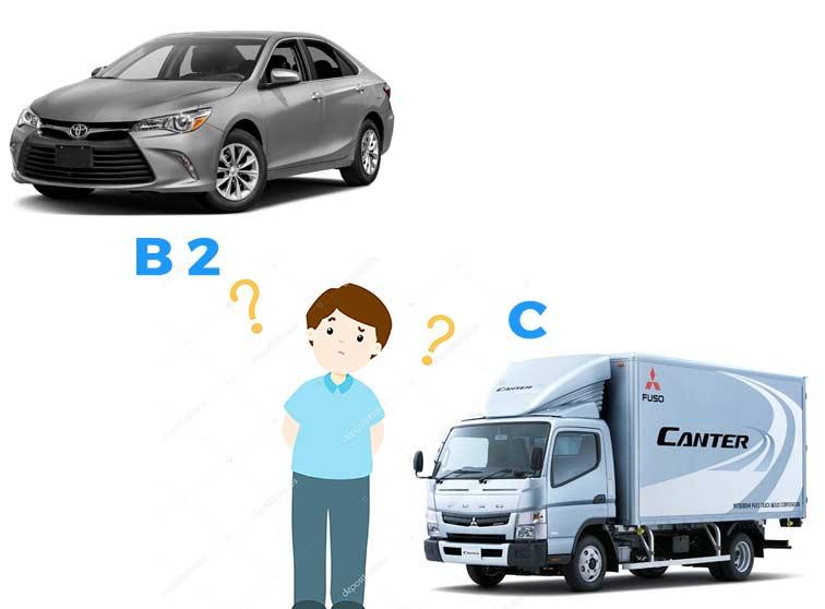 bằng lái xe B2 và C khác nhau thế nào, nên chọn bằng B2 hay C