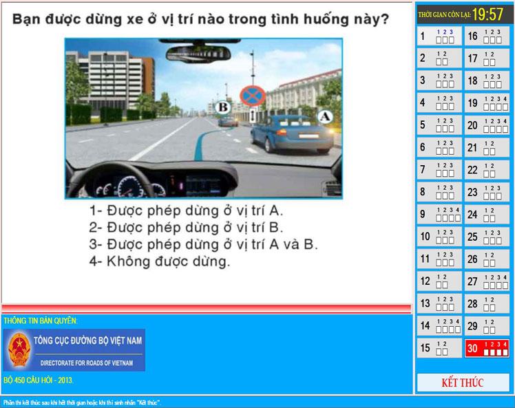 Giao dien phan mem 1 - Phần mềm thi sát hạch lý thuyết lái xe bằng B2 mới nhất và link download